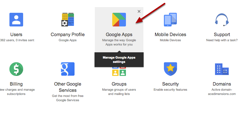 Navigate and Click on Google Apps