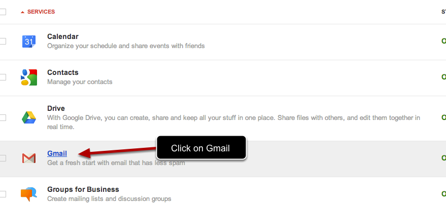 Navigate and click on Gmail
