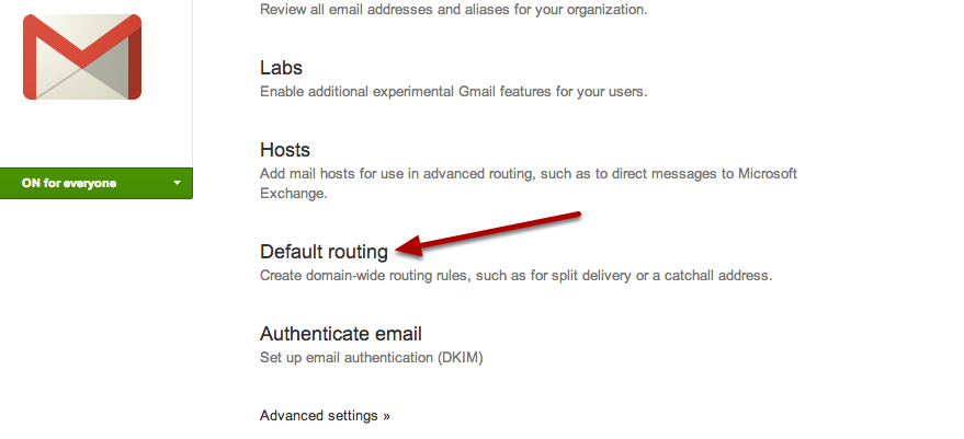 Click on default routing in google apps