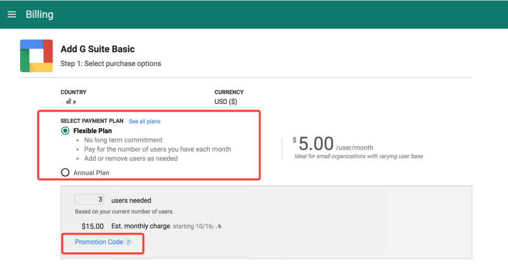 G suite coupon code