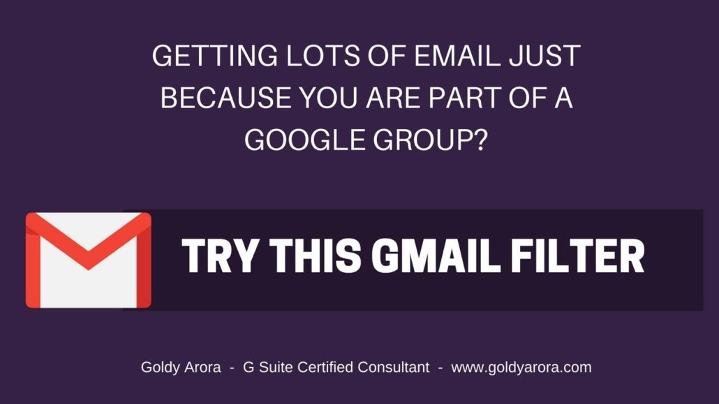 gmail filter to handle emails from groups