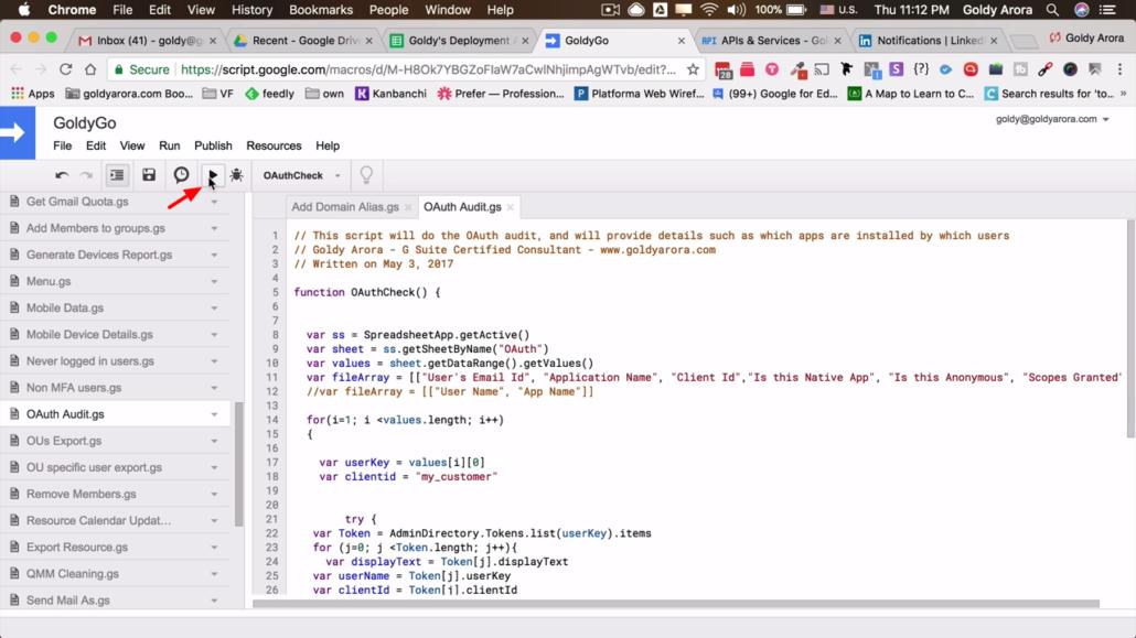 click script play button to run script