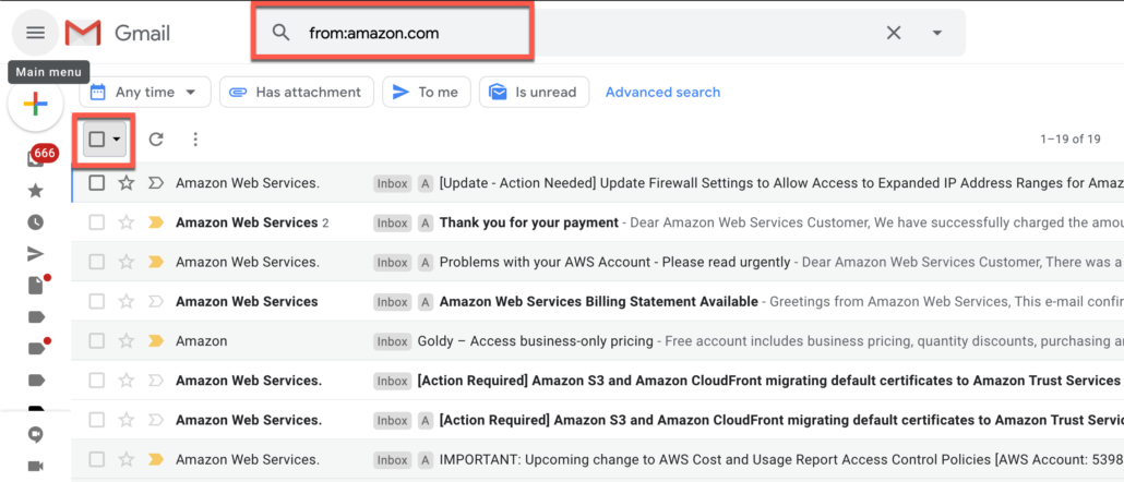 10. Delete Gmail emails from a specific domain