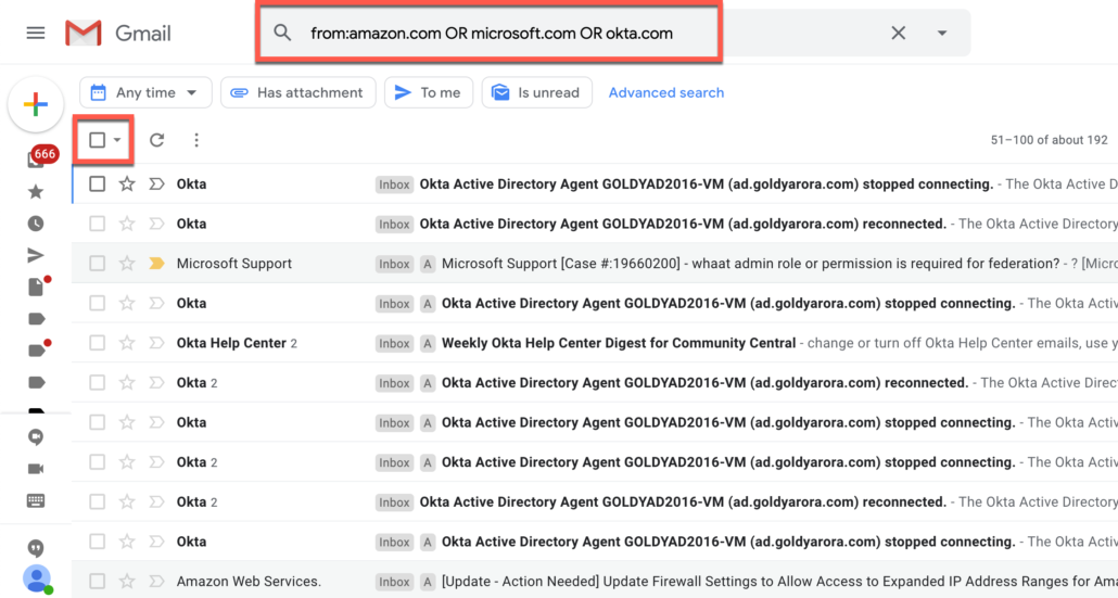11. Delete Gmail emails from multiple domains