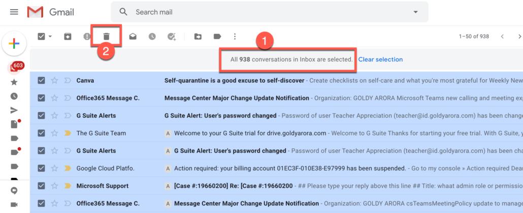 2. Click on delete button in Gmail