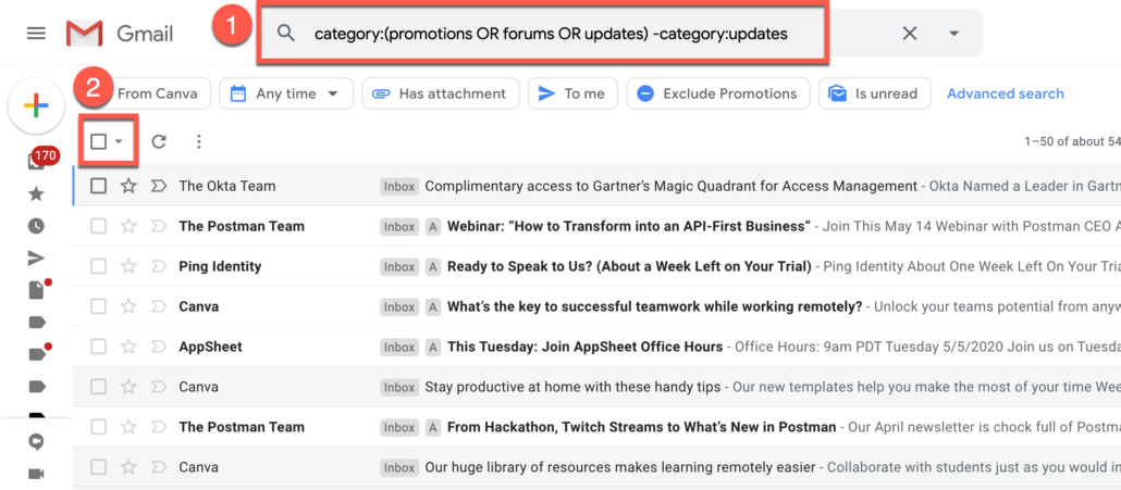 25. Search Gmail emails from categories except one