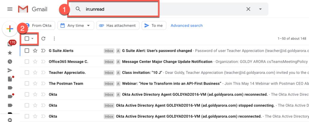 29. Delete all unread emails in Gmail