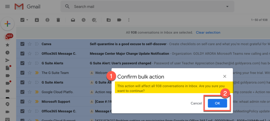 3. Confirm bulk action to delete Gmail emails