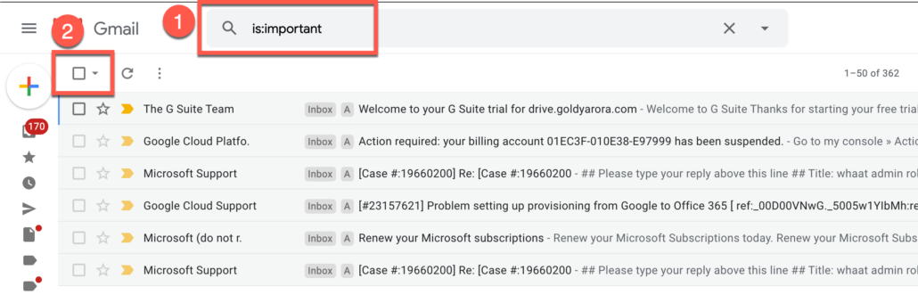 31. Delete all important Gmail emails