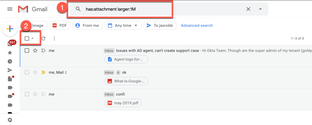 37. Deleting Gmail emails with large attachment size
