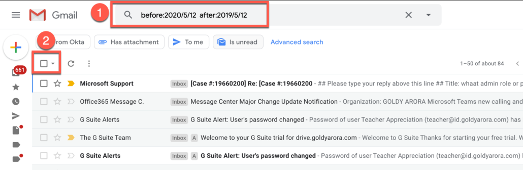 41. Delete Gmail emails between a date range