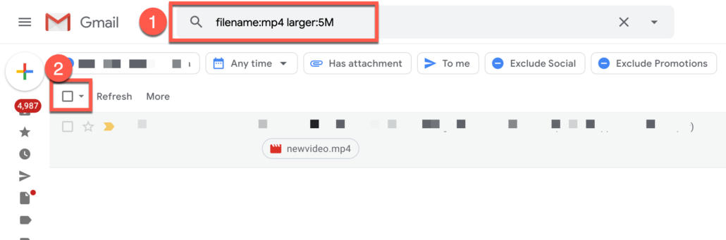 46. Delete all Gmail emails with large video files
