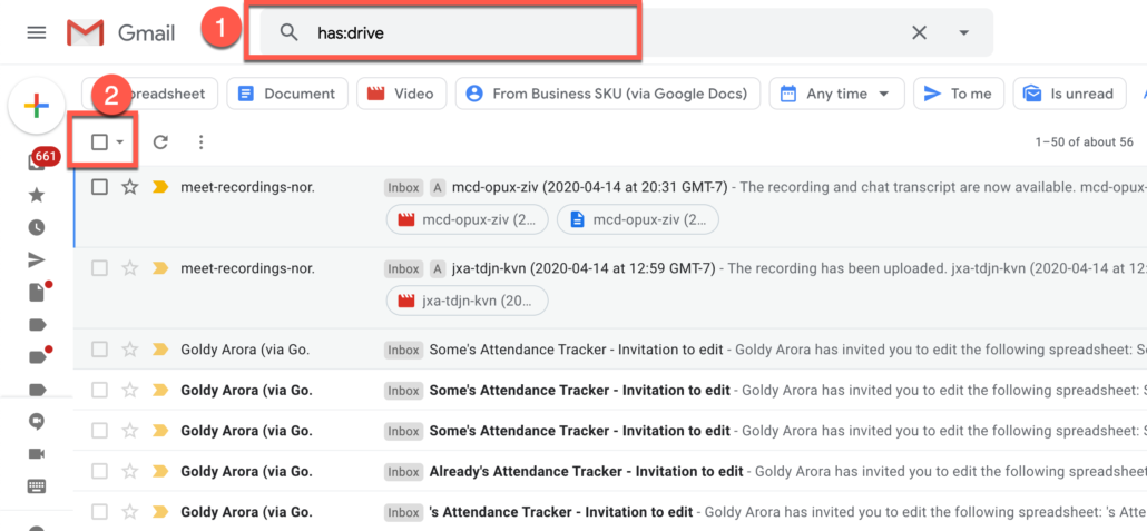 47. Delete all Gmail emails which has Google Drive links