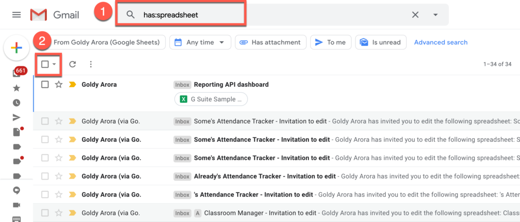 48. Delete all Gmail emails which has spreadsheet (e.g xlsx or google sheet link)