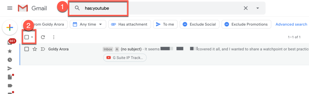 49. Delete all Gmail emails which have youtube link