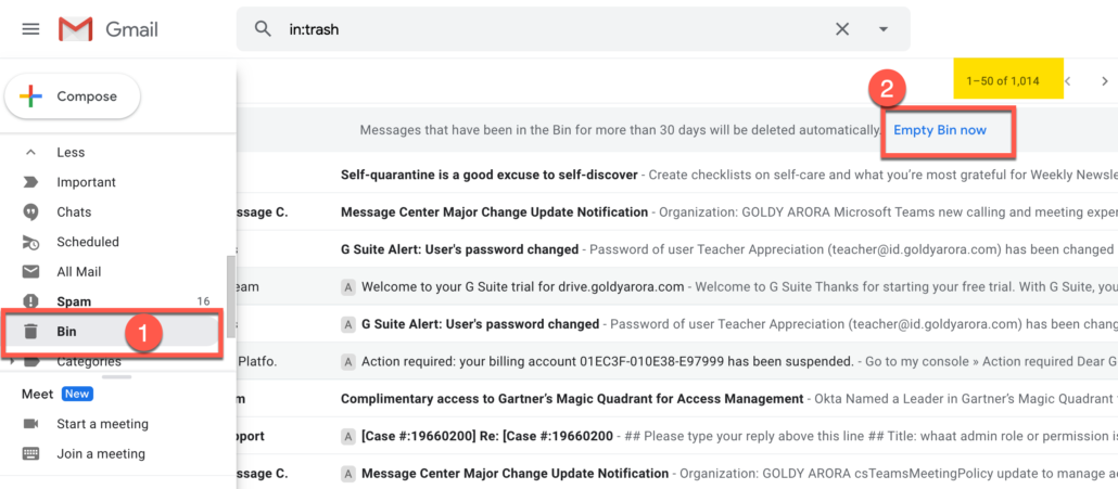 5. Deleted emails can be found in Gmail Trash bin