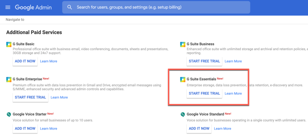 50. Click on G Suite Essentials Free Trial