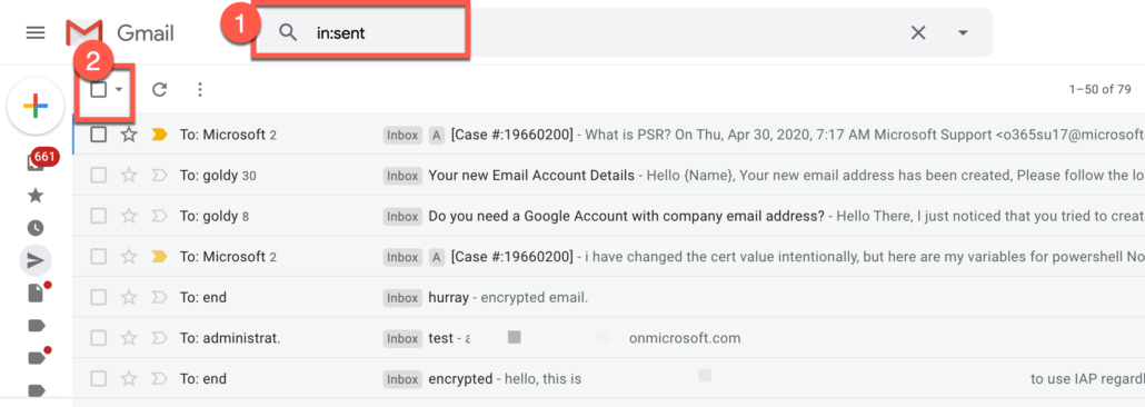 51. Delete all Gmail emails in sent labels