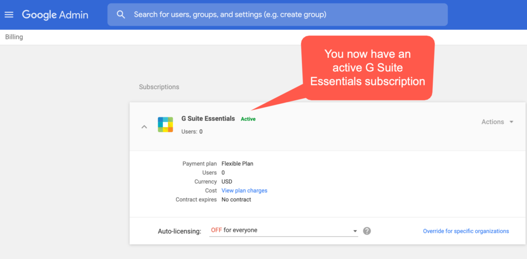 53. You now have an active G Suite Essentials subscription