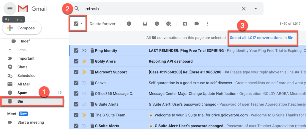 54. Go to Gmail Trash bin and select all emails