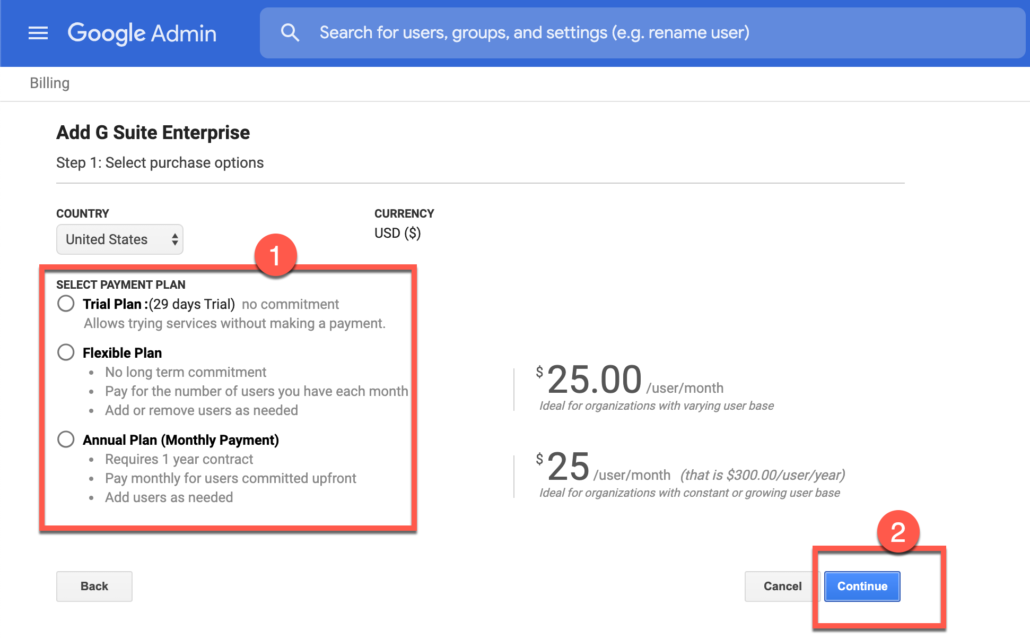 56. Select your G Suite Enterprise payment option