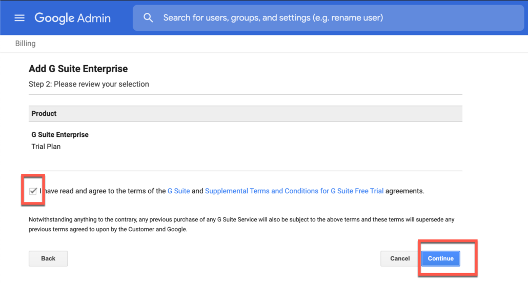 57. Accept terms of G Suite Enterprise