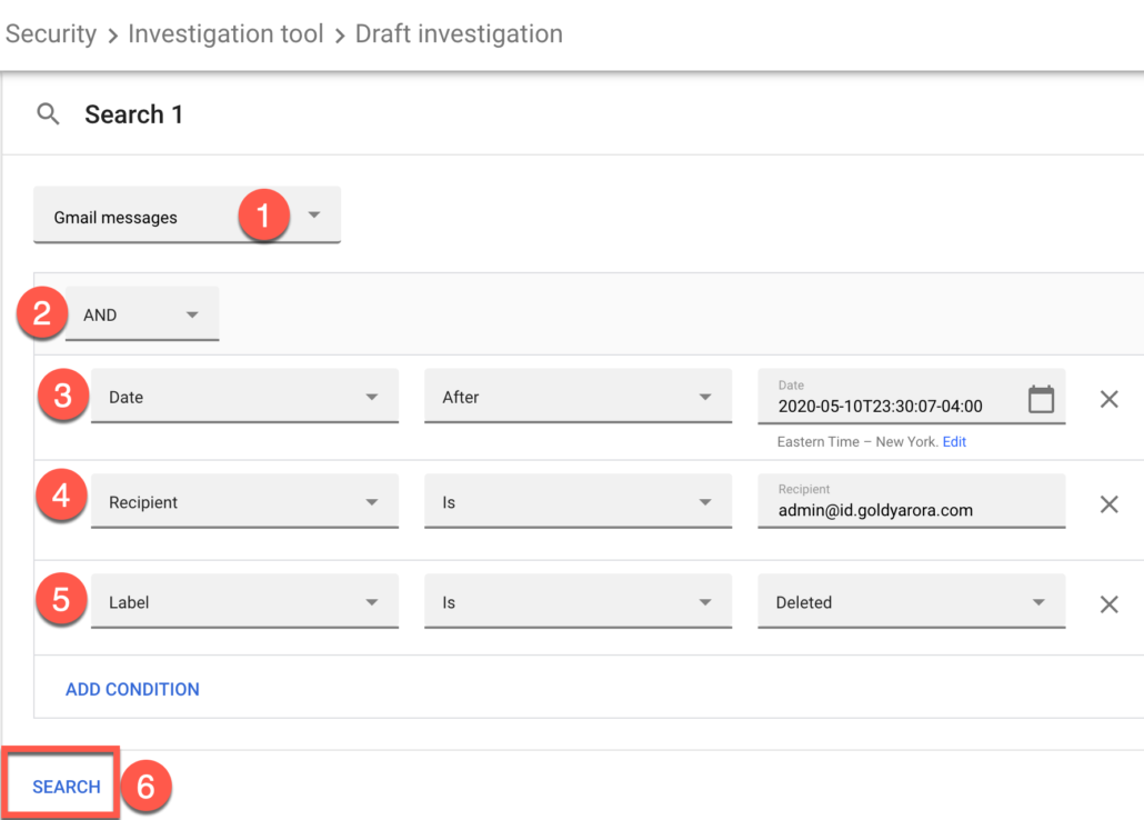 61. Run a security investigation to find user's deleted Gmail emails