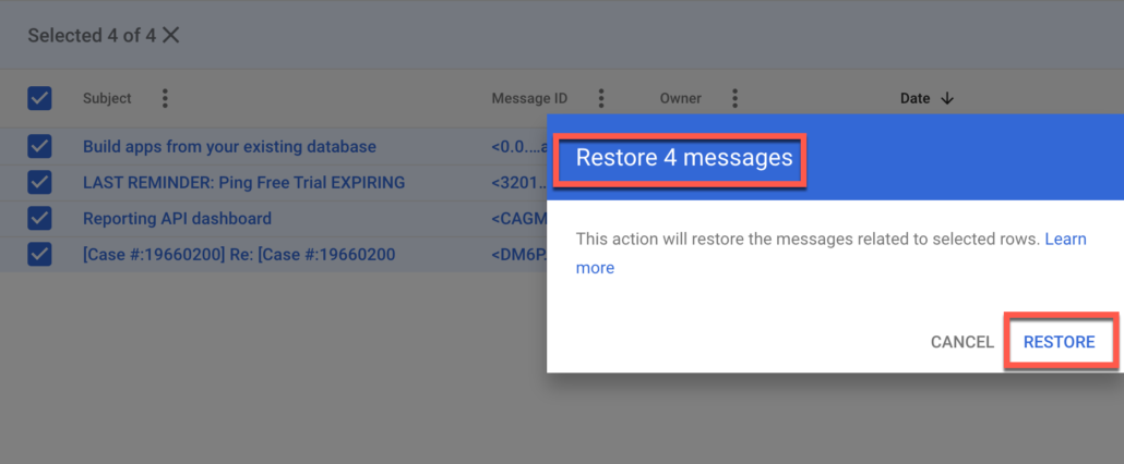 64. Confirm to Google that you want to restore this user's gmail emails