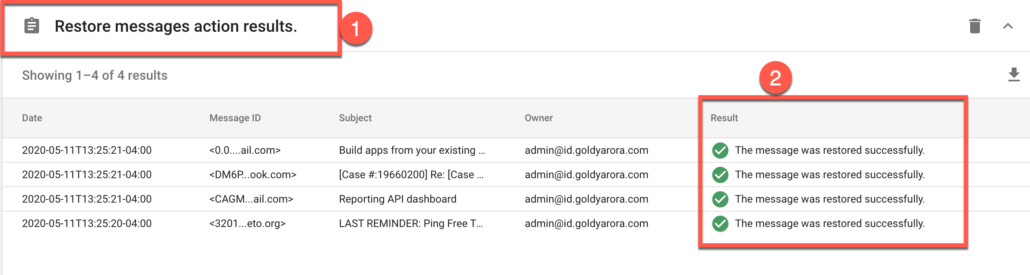 66. User's Gmail emails will not be restored