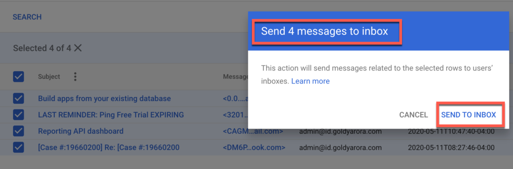 68. Click on send to inbox from security investigation tool