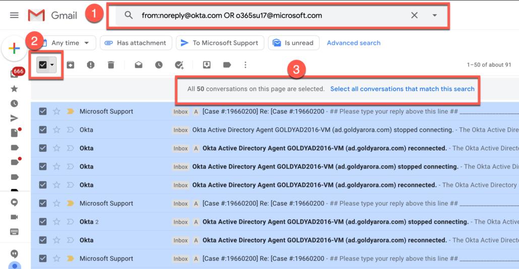 7. Delete from multiple specific senders