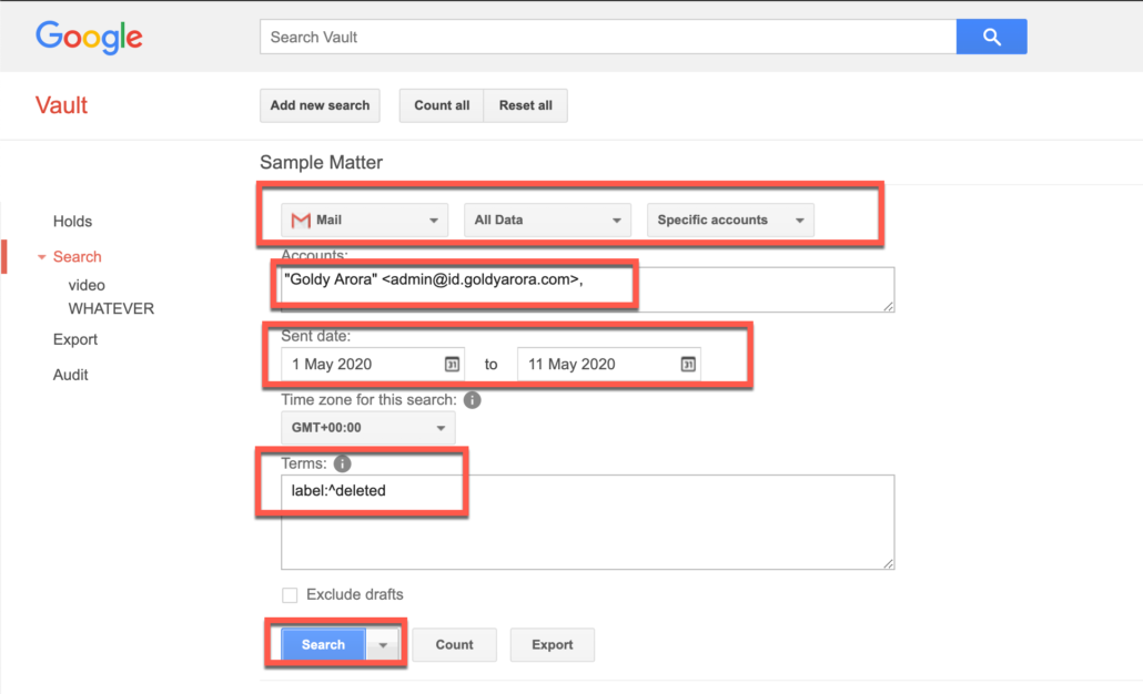 71. Run query in Google Vault to find permanently deleted Gmail emails