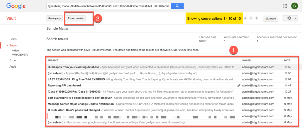 72. Click on Export results from Google Vault