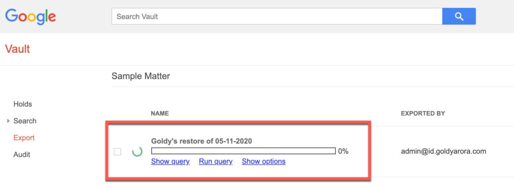 73. Google Vault would not start the export