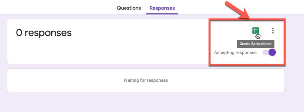 11. Create responses sheet