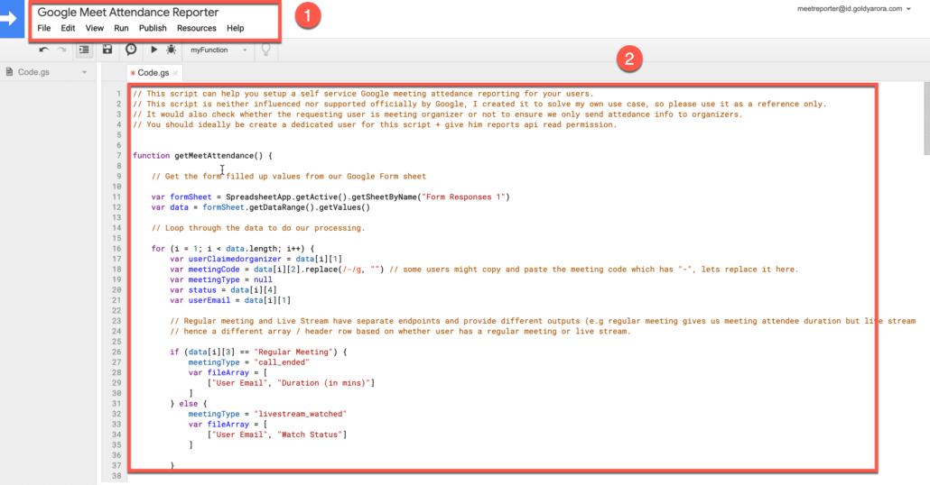 17. add the google apps script code