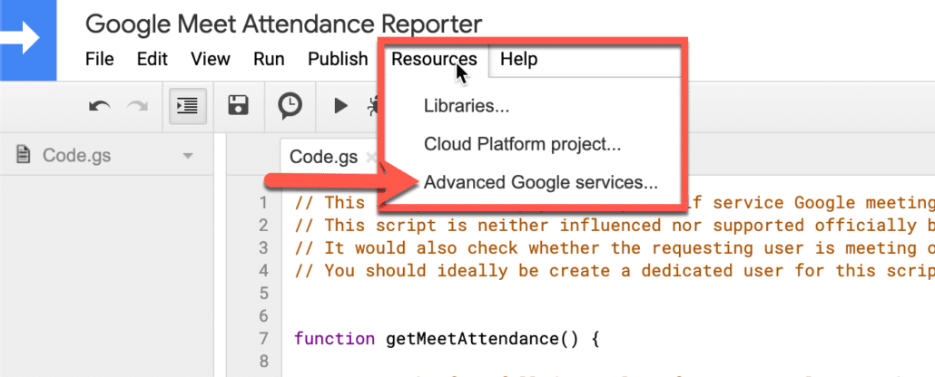 18. Go to resources and click on advance google services