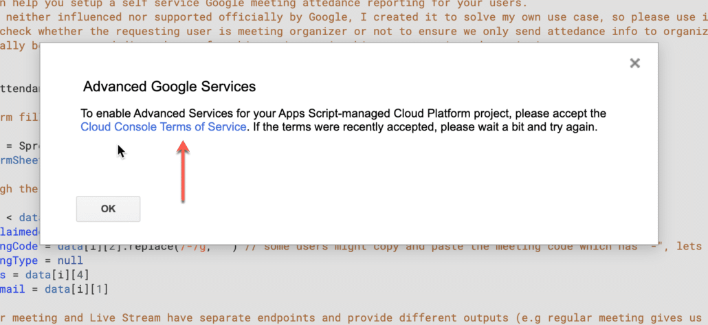 19. click on cloud console terms of service
