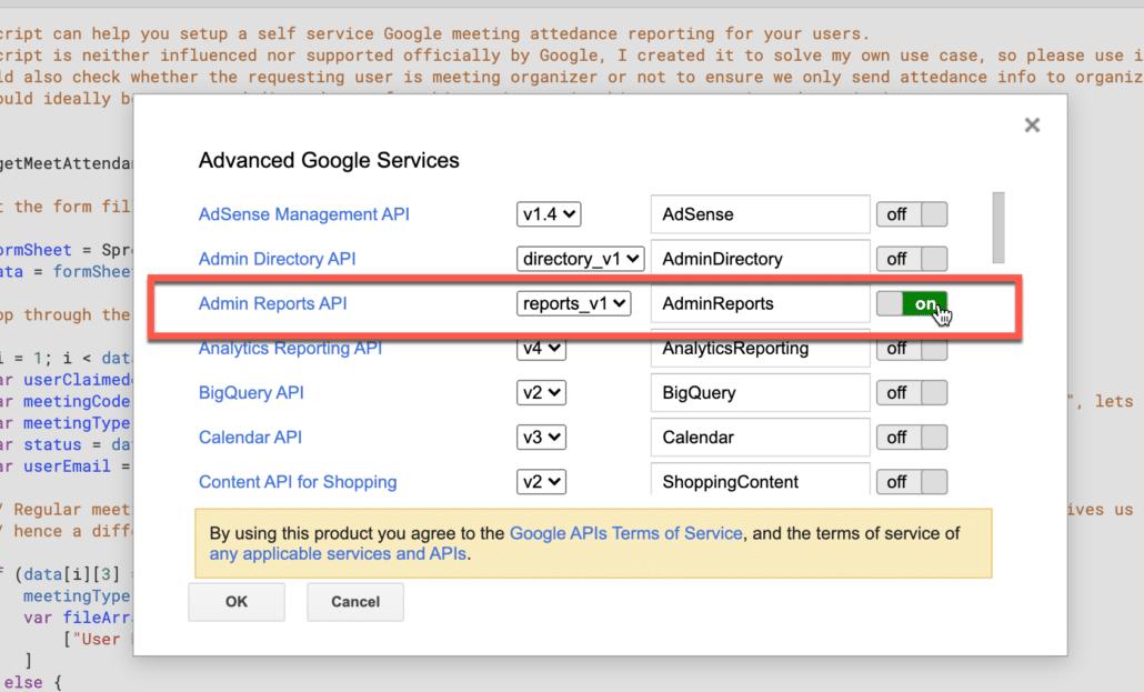 21. enable admin reports api