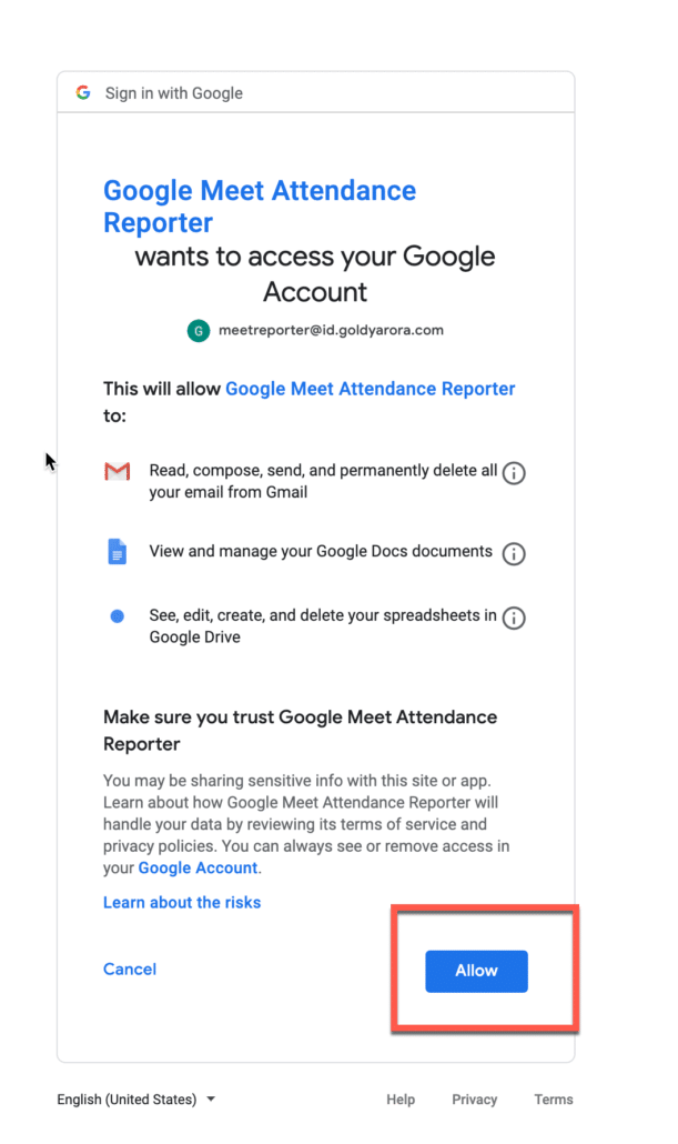 28. Allow access to your google meet account