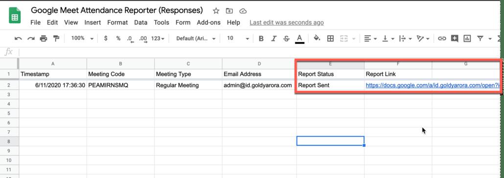 29. Our script should update the google meet report status