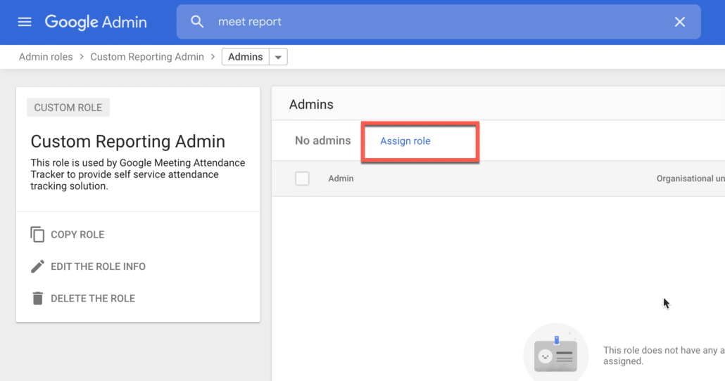 3. Click on Assign Role in Google Workspace