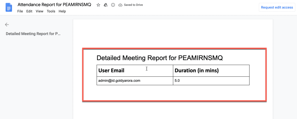 31. Google document should have a meeting attendance with duration