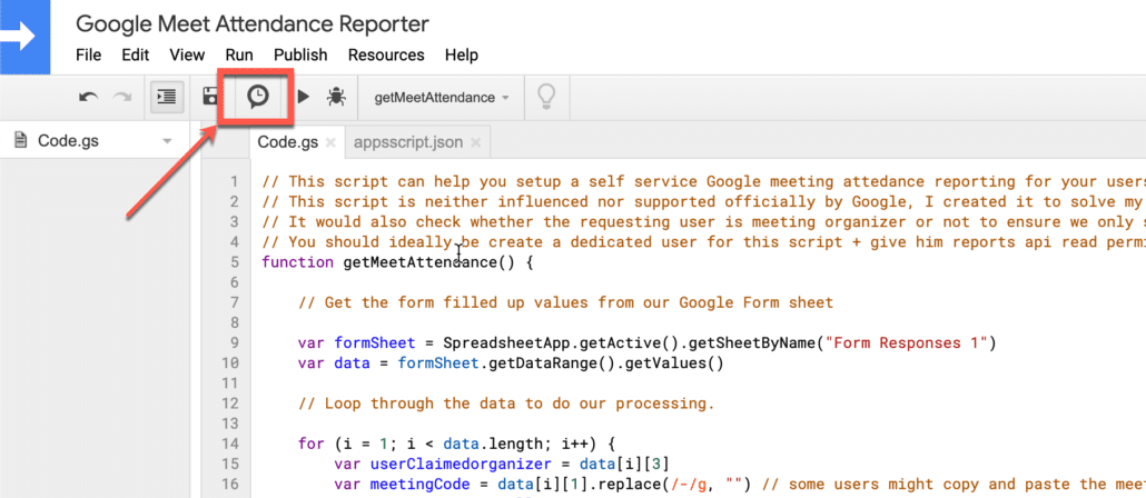 35. Click on trigger icon in google apps script