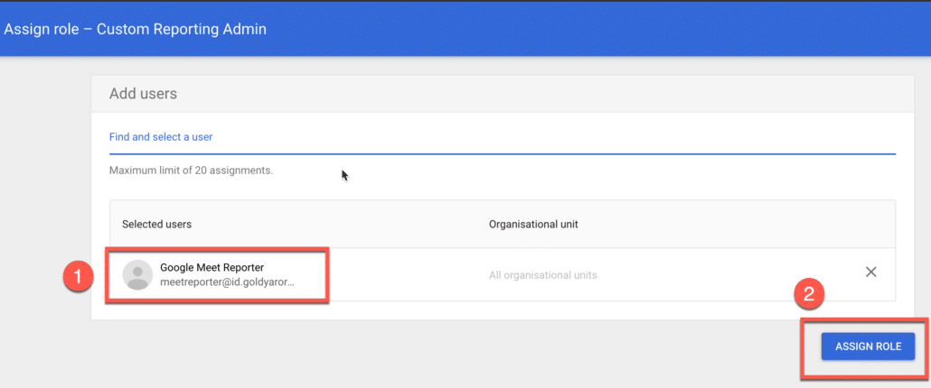 4. Assign the new reporting custom role to meet user