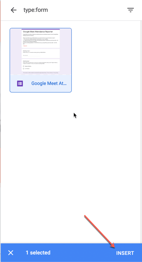 41. Search and insert your google form to google site