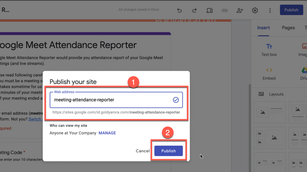 42. publish your google site