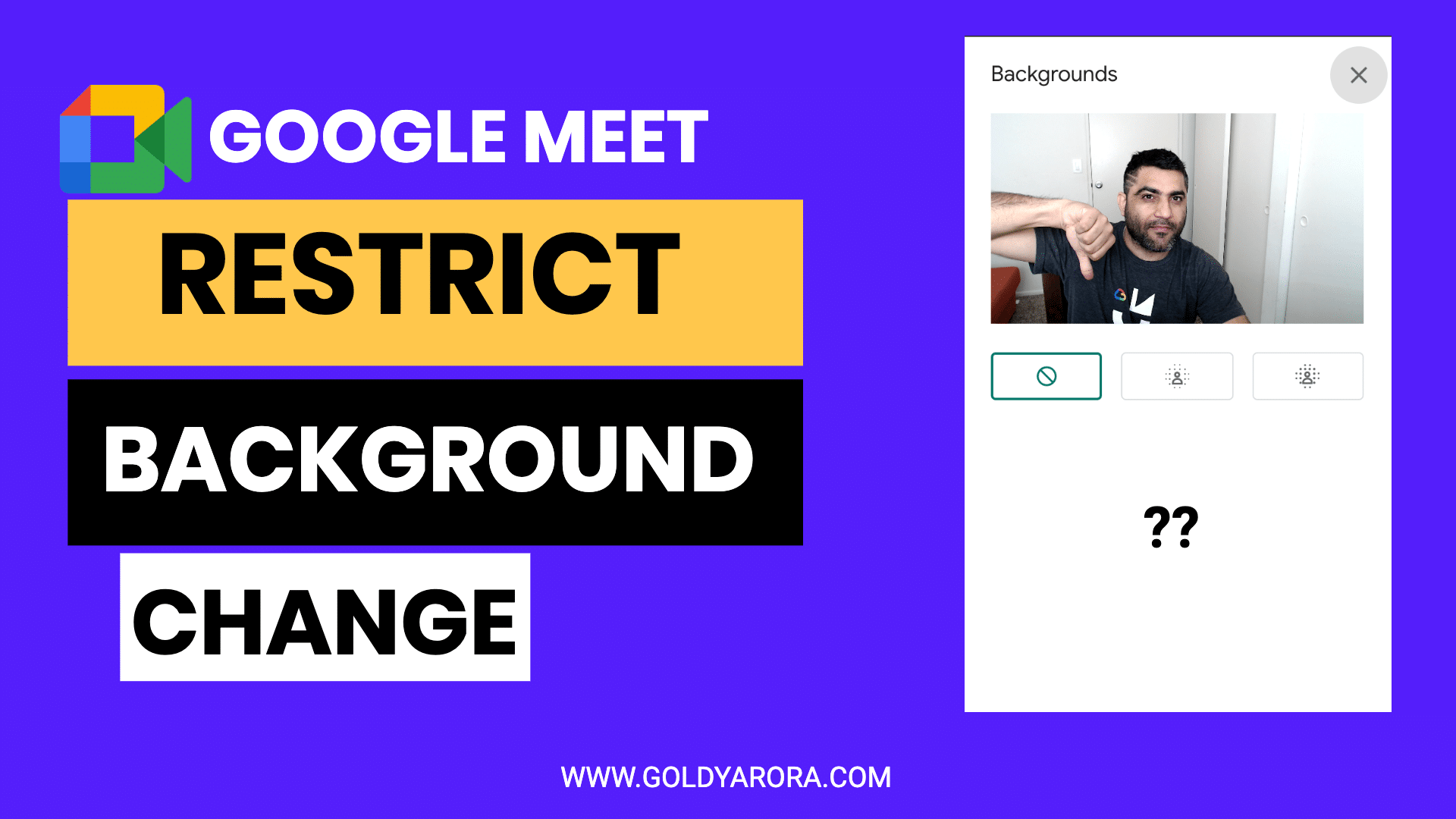 how to restrict your users from changing google meet background