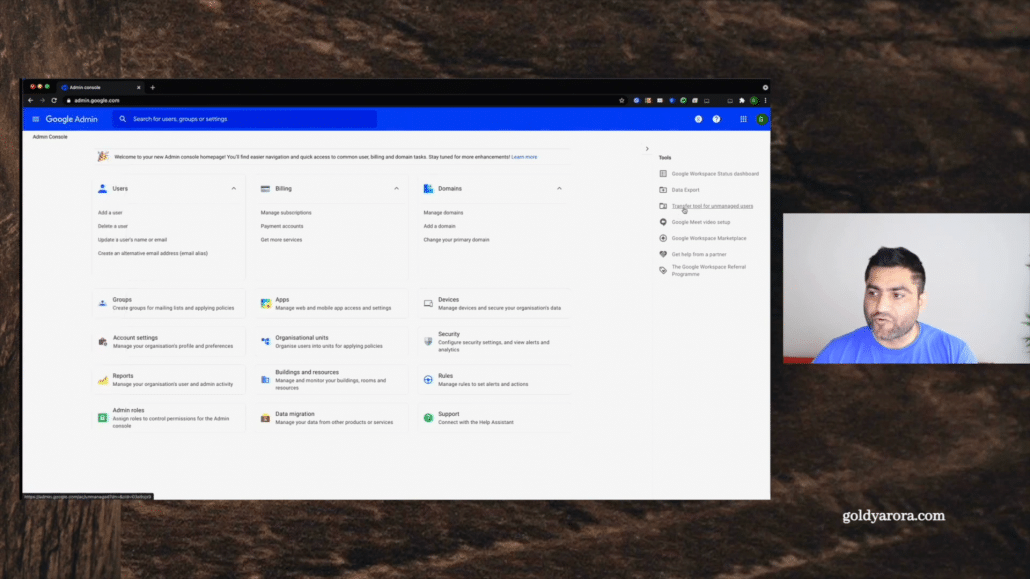Now, once you're here, you have two options. Like once you're in your home screen on your Google admin dashboard, you can either click on this transfer tool for unmanaged users.